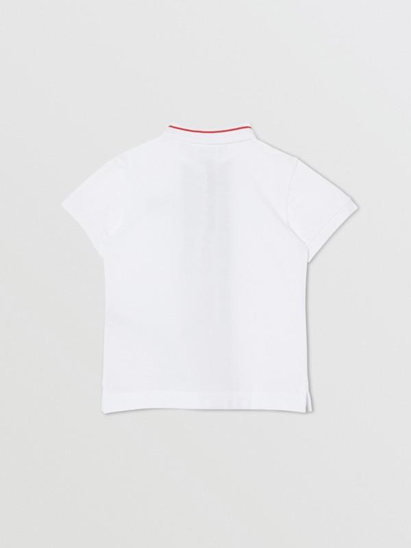 Poloshirt aus Baumwollpiqué mit Monogrammmuster im Streifendesign (Weiß) | Burberry - cell image 3