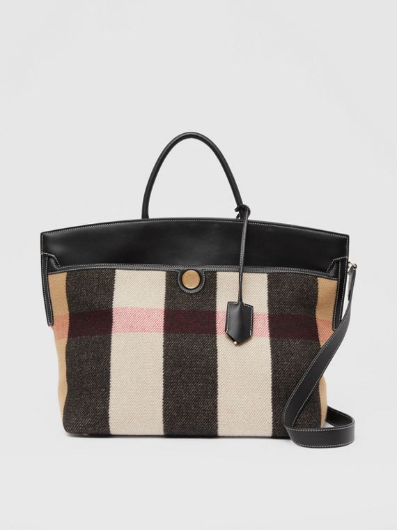 Check Wool Cashmere Society Top Handle Bag in Archive Beige