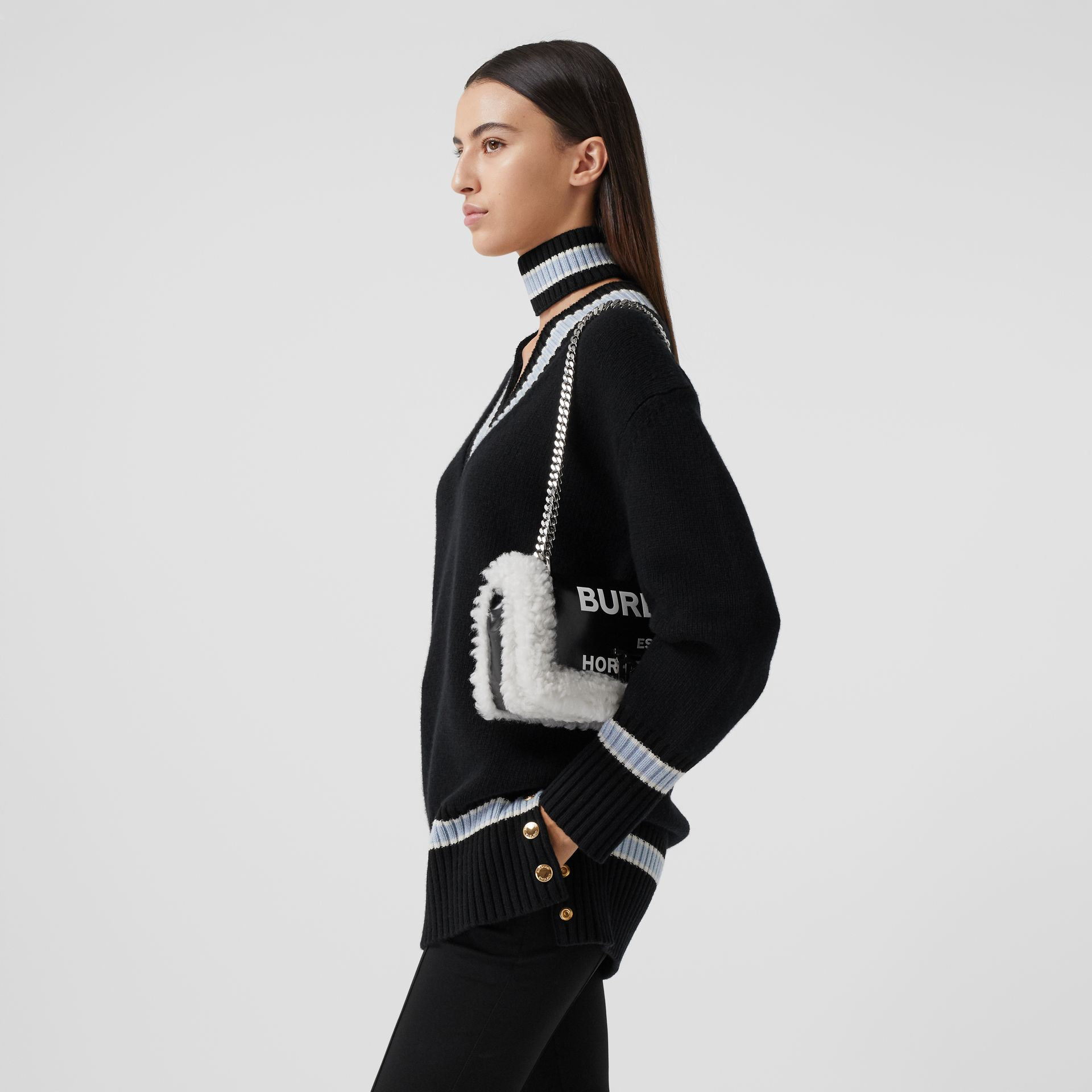Small Horseferry Print Coated Canvas and Shearling Lola Bag in Black - Women | Burberry United Kingdom - gallery image 2