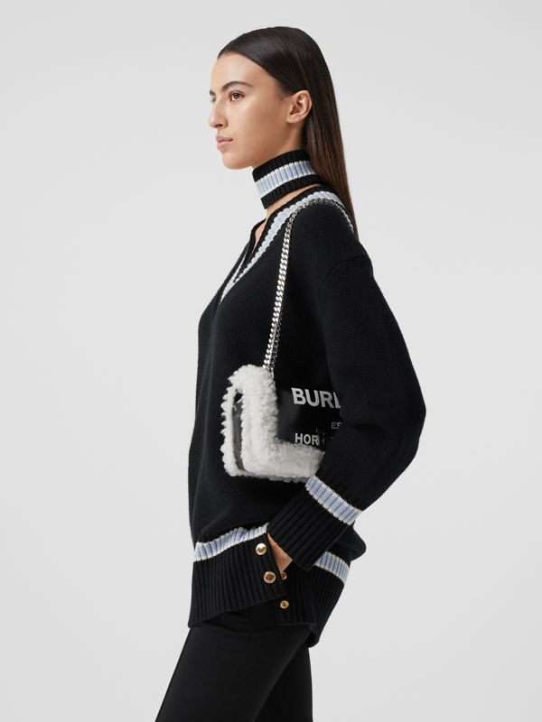 Small Horseferry Print Coated Canvas and Shearling Lola Bag in Black - Women | Burberry Canada - cell image 2