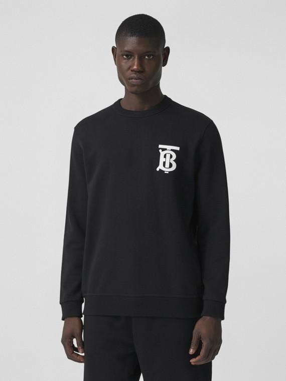 Monogram Motif Cotton Sweatshirt in Black