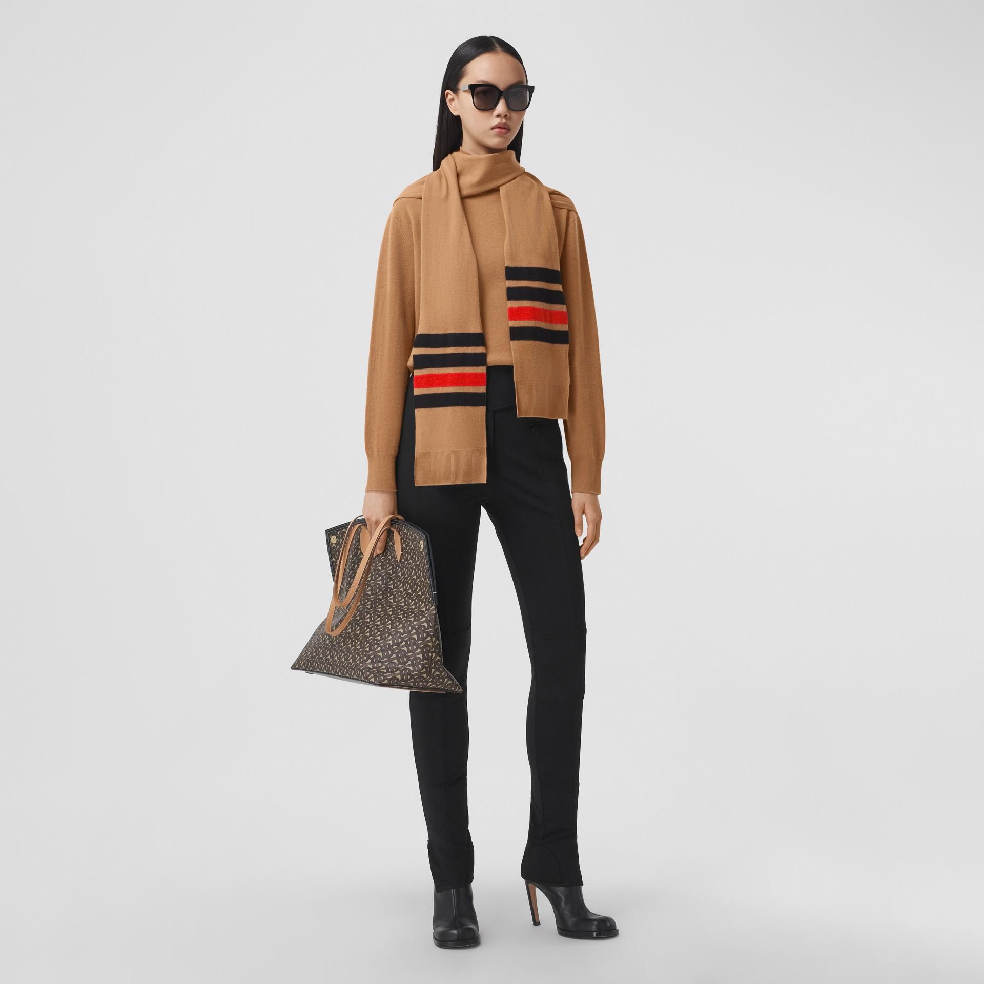 Striped Scarf Detail Merino Wool Cashmere Sweater in Beige - Women | Burberry - gallery image 0