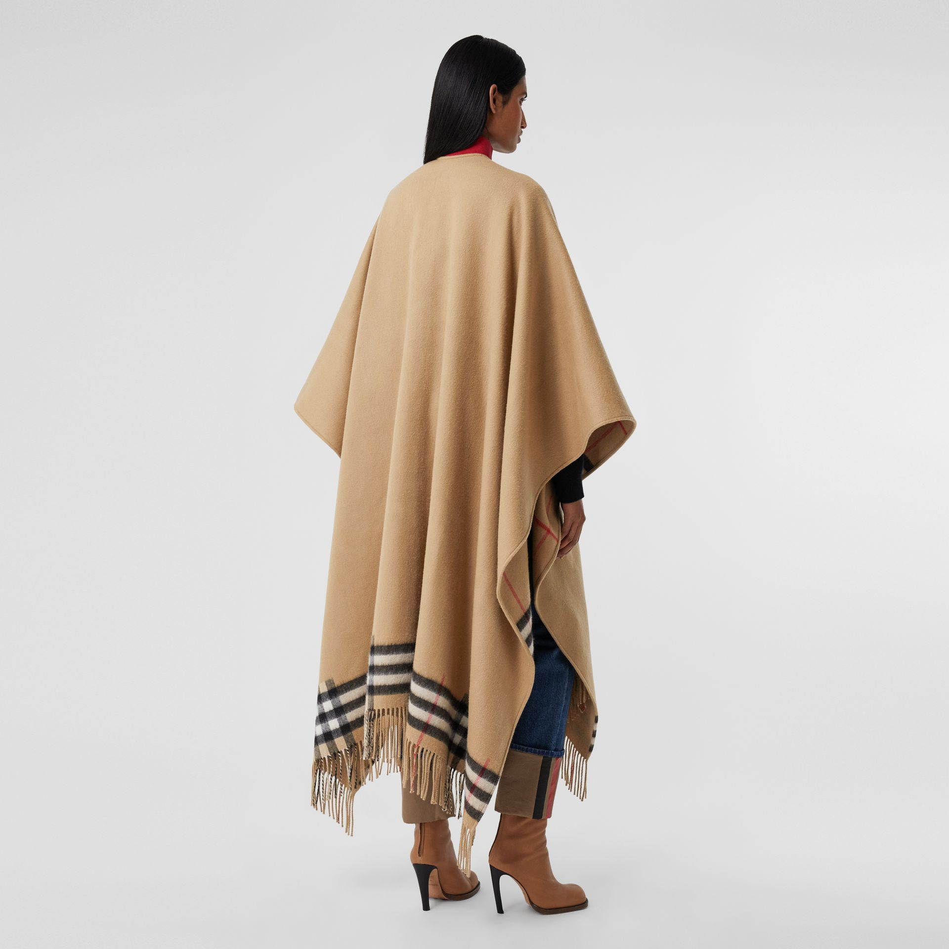 Check-lined Cashmere Merino Wool Cape in Archive Beige - Women | Burberry - gallery image 2