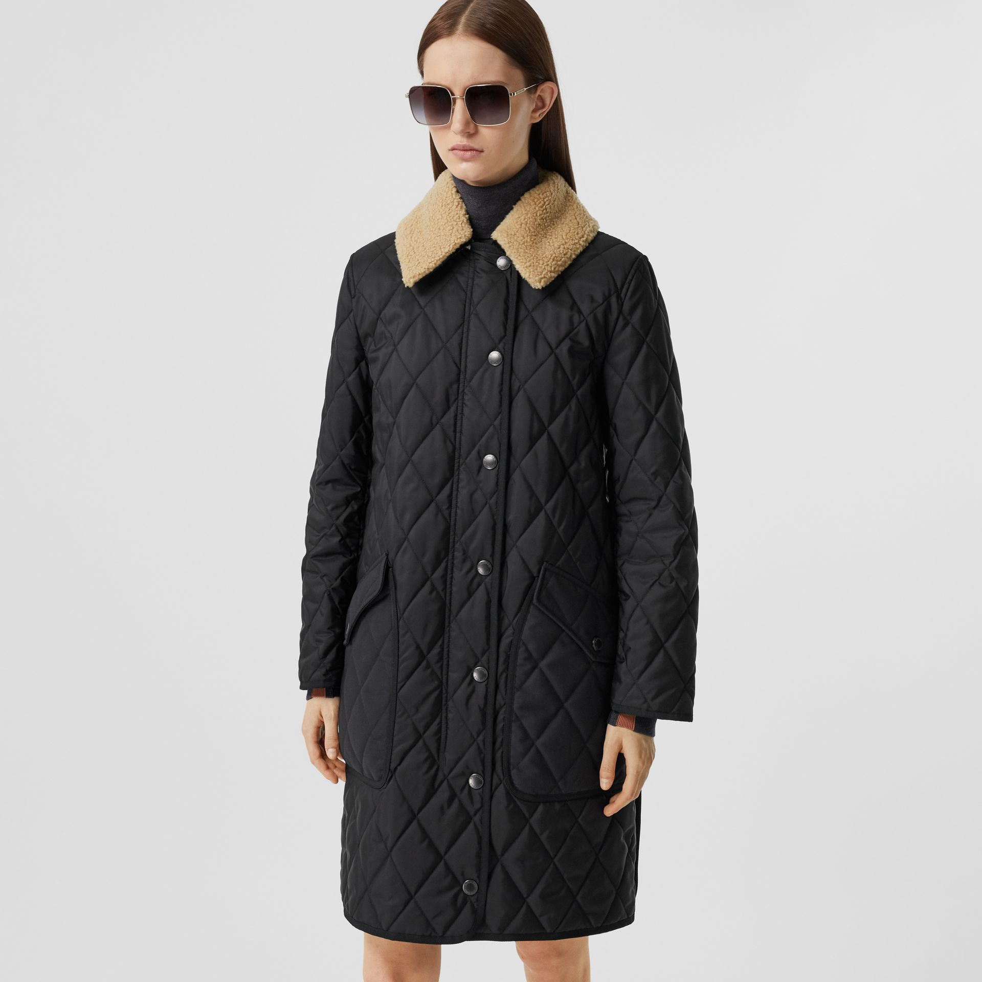 Detachable Fleece Collar Diamond Quilted Coat in Black - Women | Burberry - gallery image 5
