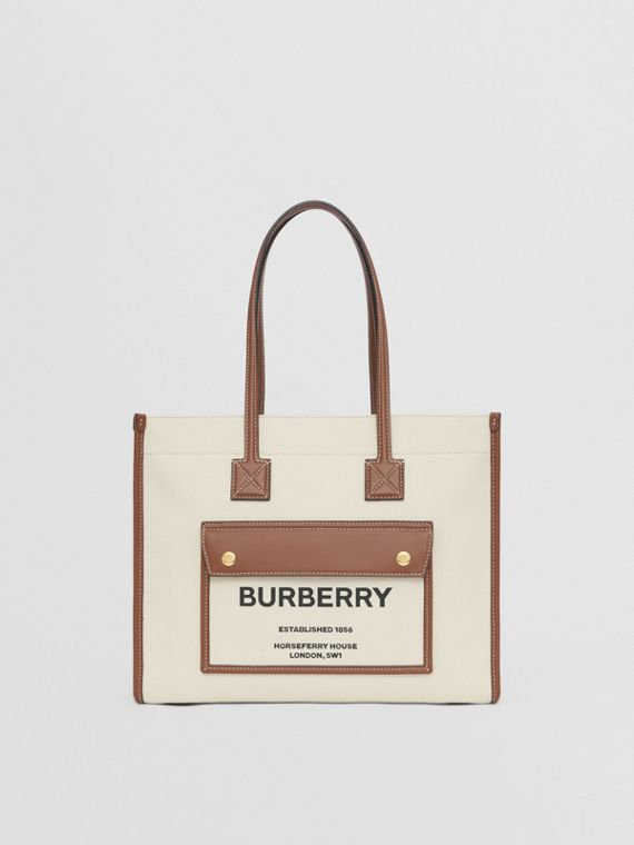 Small Two-tone Canvas and Leather Freya Bag in Natural/tan
