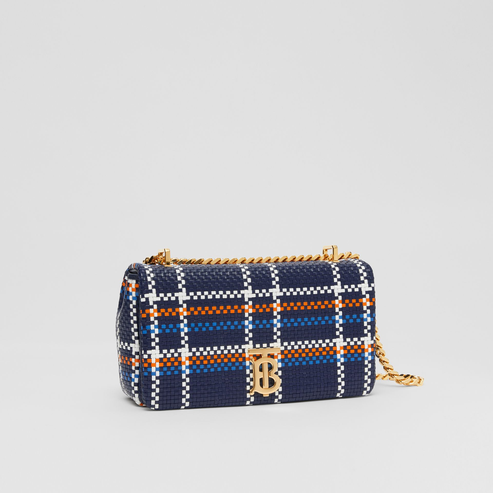 Small Latticed Leather Lola Bag in Blue/white/orange - Women | Burberry Canada - gallery image 3