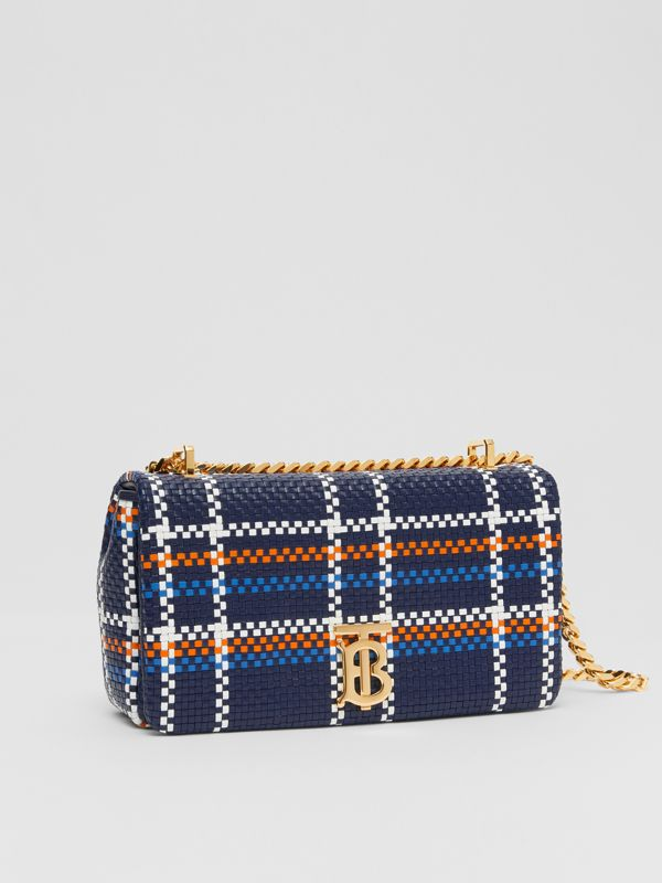 Small Latticed Leather Lola Bag in Blue/white/orange - Women | Burberry - cell image 3