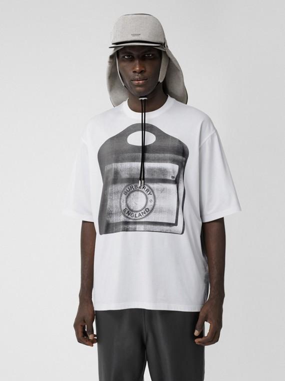 Camiseta de malha de algodão com estampa de bolsa Pocket (Branco)