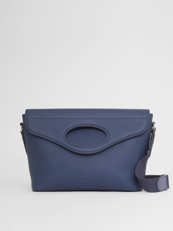 Grainy Leather Pocket Messenger Bag in Ash Blue