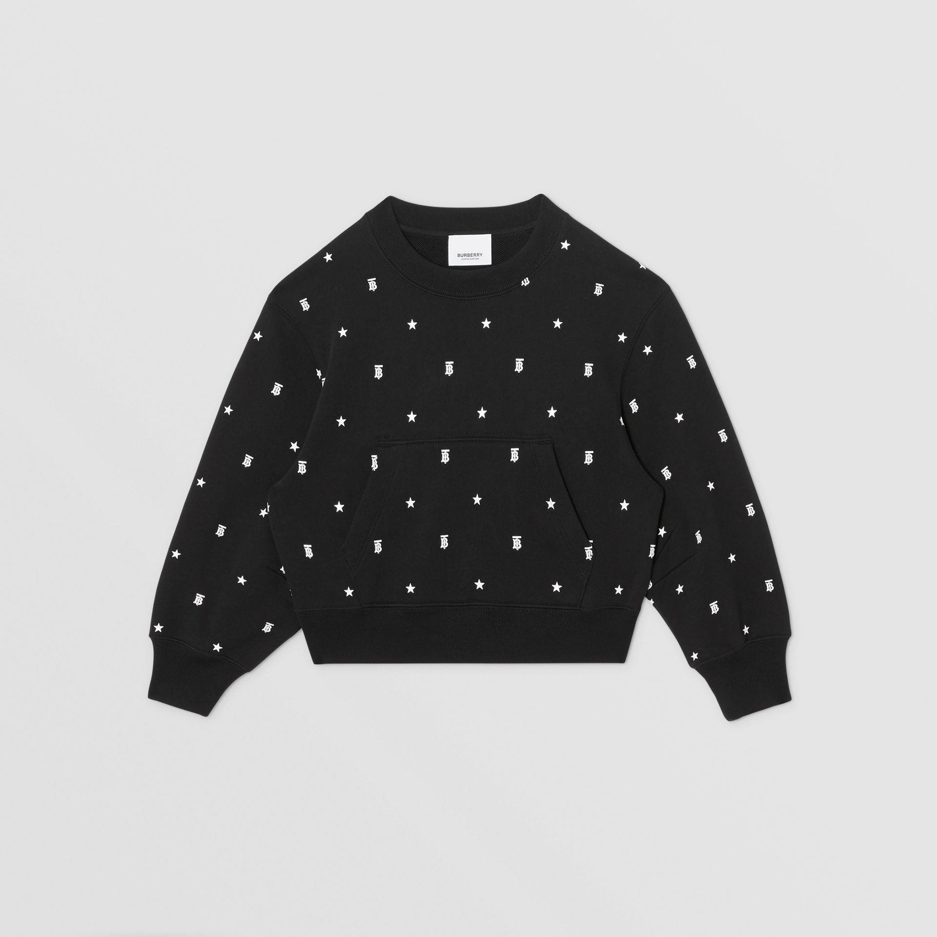 Star and Monogram Motif Cotton Sweatshirt in Black | Burberry - gallery image 0