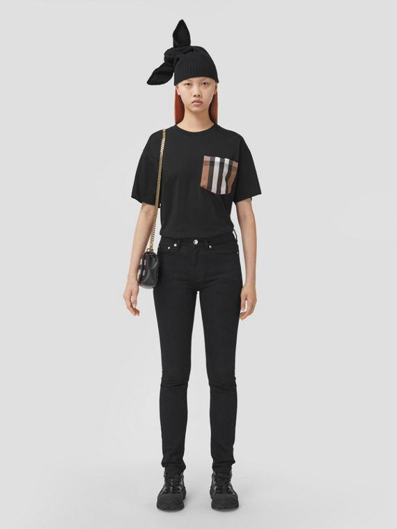 Check Pocket Cotton Oversized T-shirt in Black