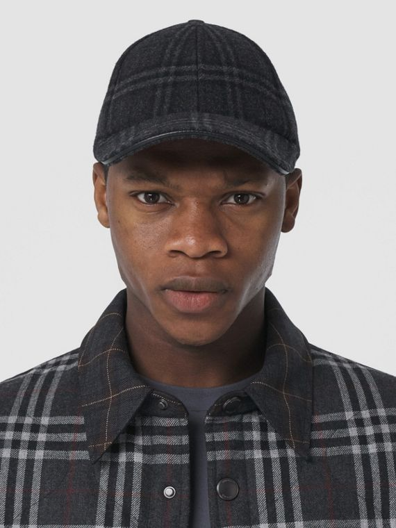 Check Wool Cashmere Baseball Cap in Charcoal