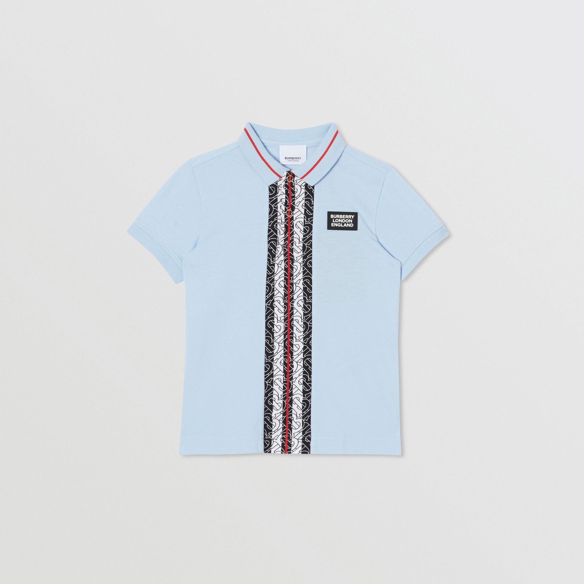 Monogram Stripe Print Cotton Piqué Polo Shirt in Pale Blue | Burberry United Kingdom - gallery image 0