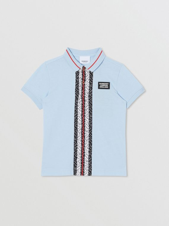 Monogram Stripe Print Cotton Piqué Polo Shirt in Pale Blue