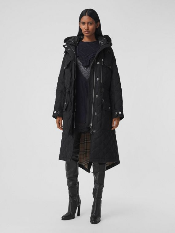 Detachable Hood Quilted Ramie Cotton Parka in Black