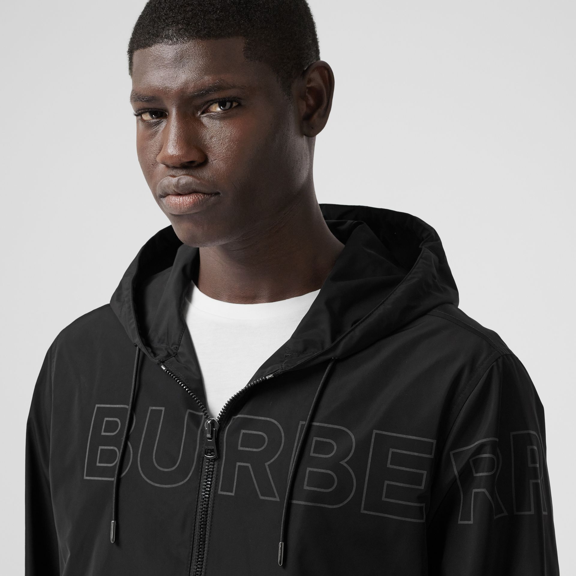 Horseferry Print Shape-memory Taffeta Hooded Jacket in Black - Men | Burberry - gallery image 1