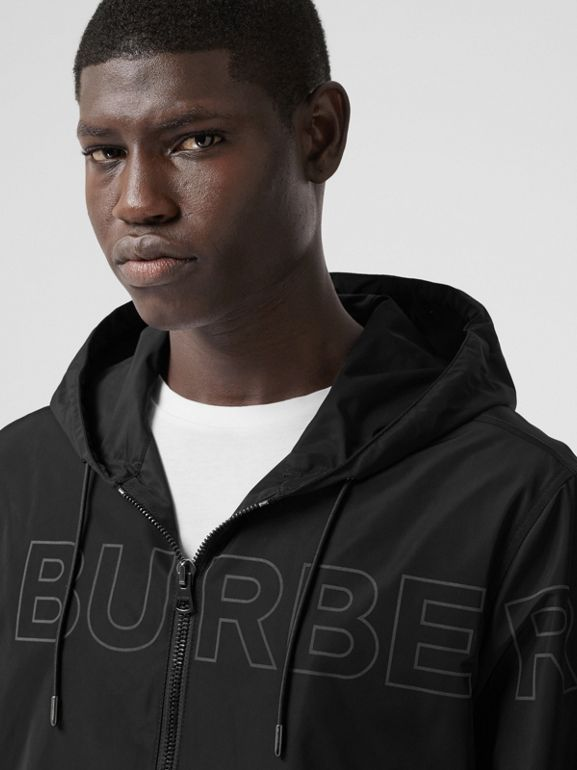 Horseferry Print Shape-memory Taffeta Hooded Jacket in Black - Men | Burberry - cell image 1