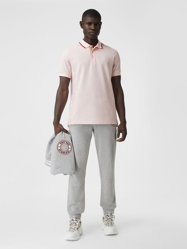 Monogram Motif Cotton Piqué Polo Shirt in Frosted Pink - Men | Burberry - cell image 3