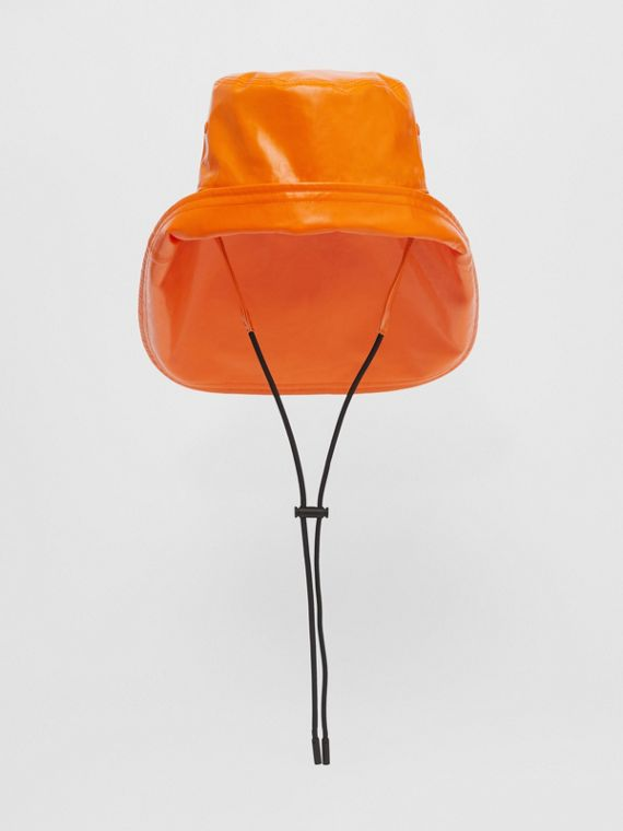 Logo Print Rubberised Cotton Fisherman Hat in Bright Orange