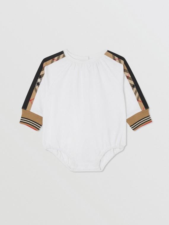 Bodysuit aus Baumwolle mit Vintage Check-Details (Weiß)
