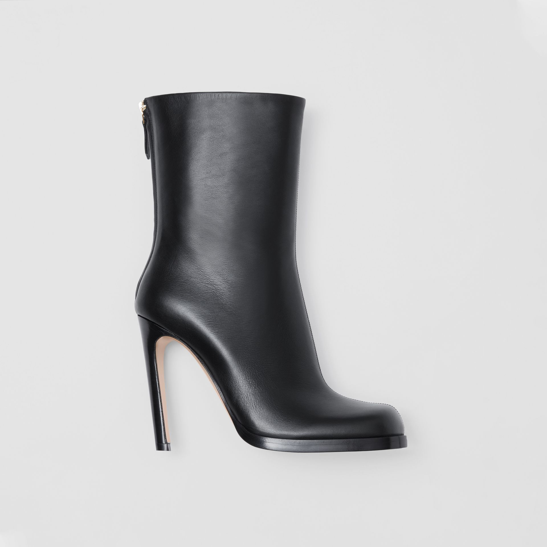 Vintage Check-lined Leather Ankle Boots in Black - Women | Burberry - gallery image 0