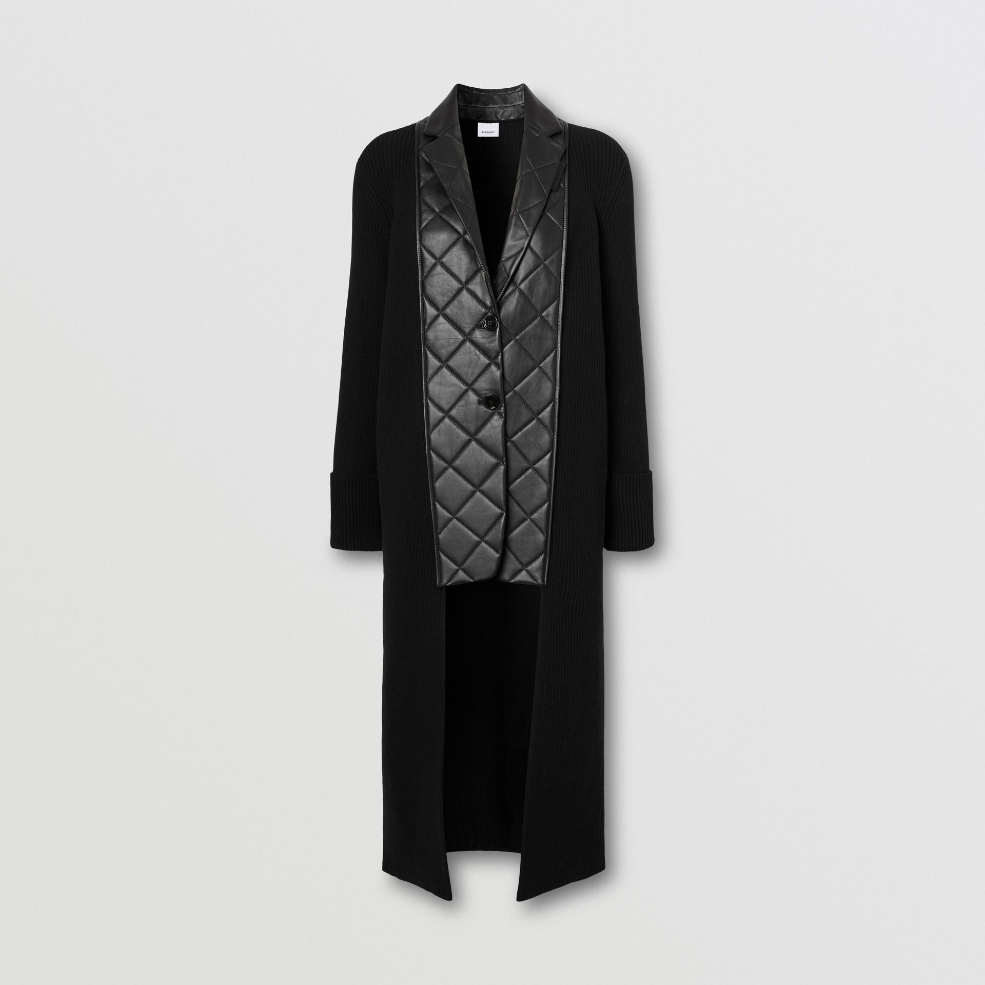 Rebeca en punto de lana con paneles estilo americana en piel de ovino (Negro) - Mujer | Burberry - imagen de la galería 3