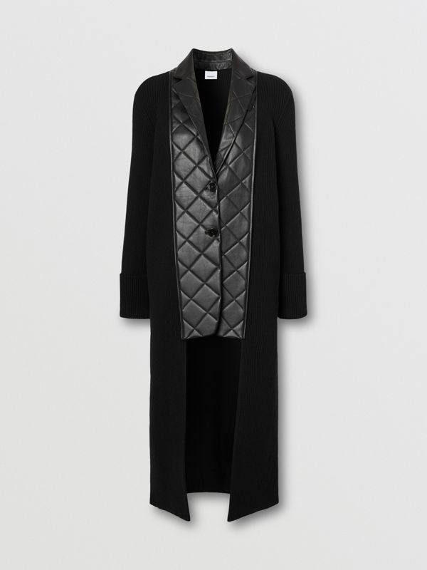 Lambskin Blazer Panel Rib Knit Wool Cardigan in Black - Women | Burberry - cell image 3