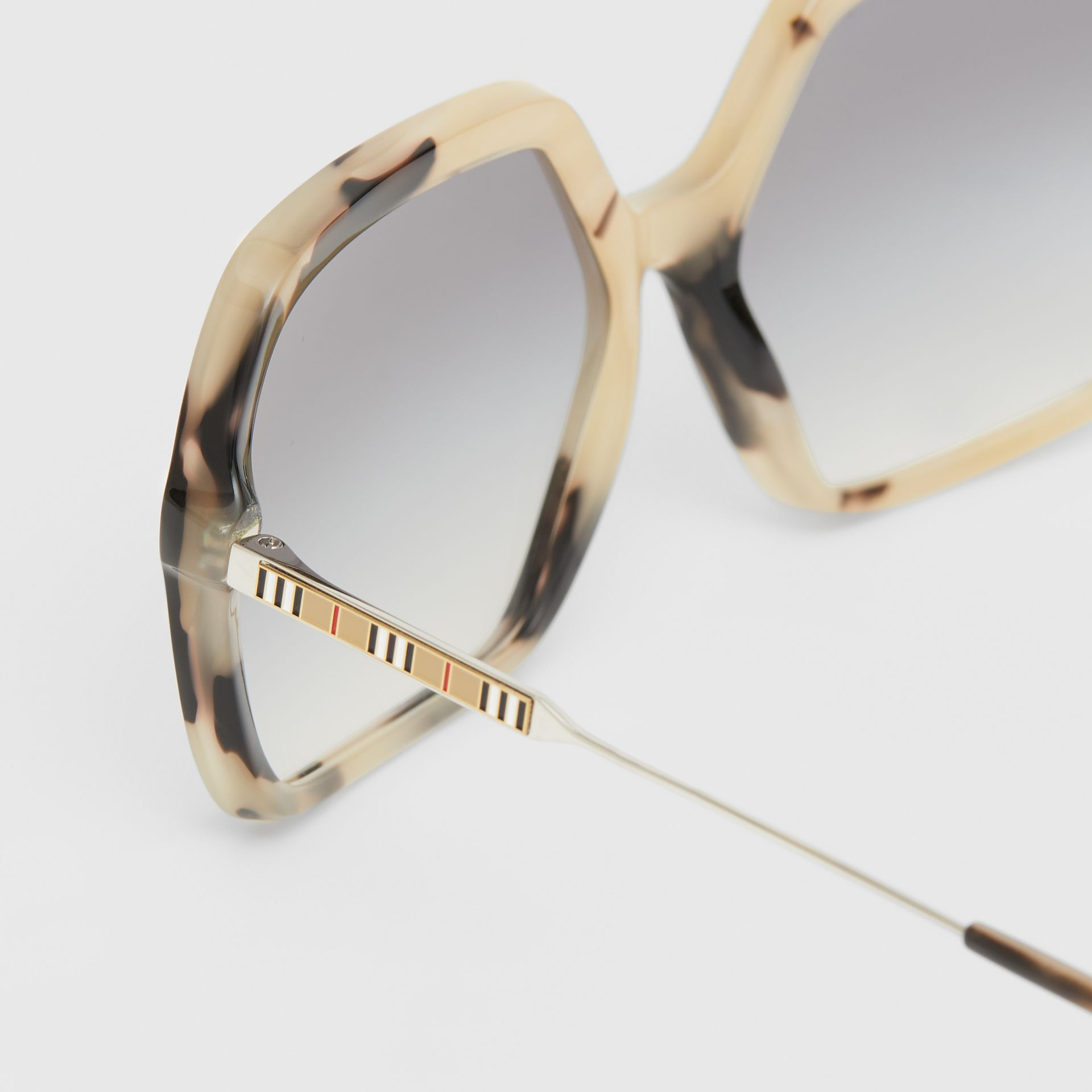 Oversized Square Frame Sunglasses in Honey Tortoiseshell - Women | Burberry - gallery image 1