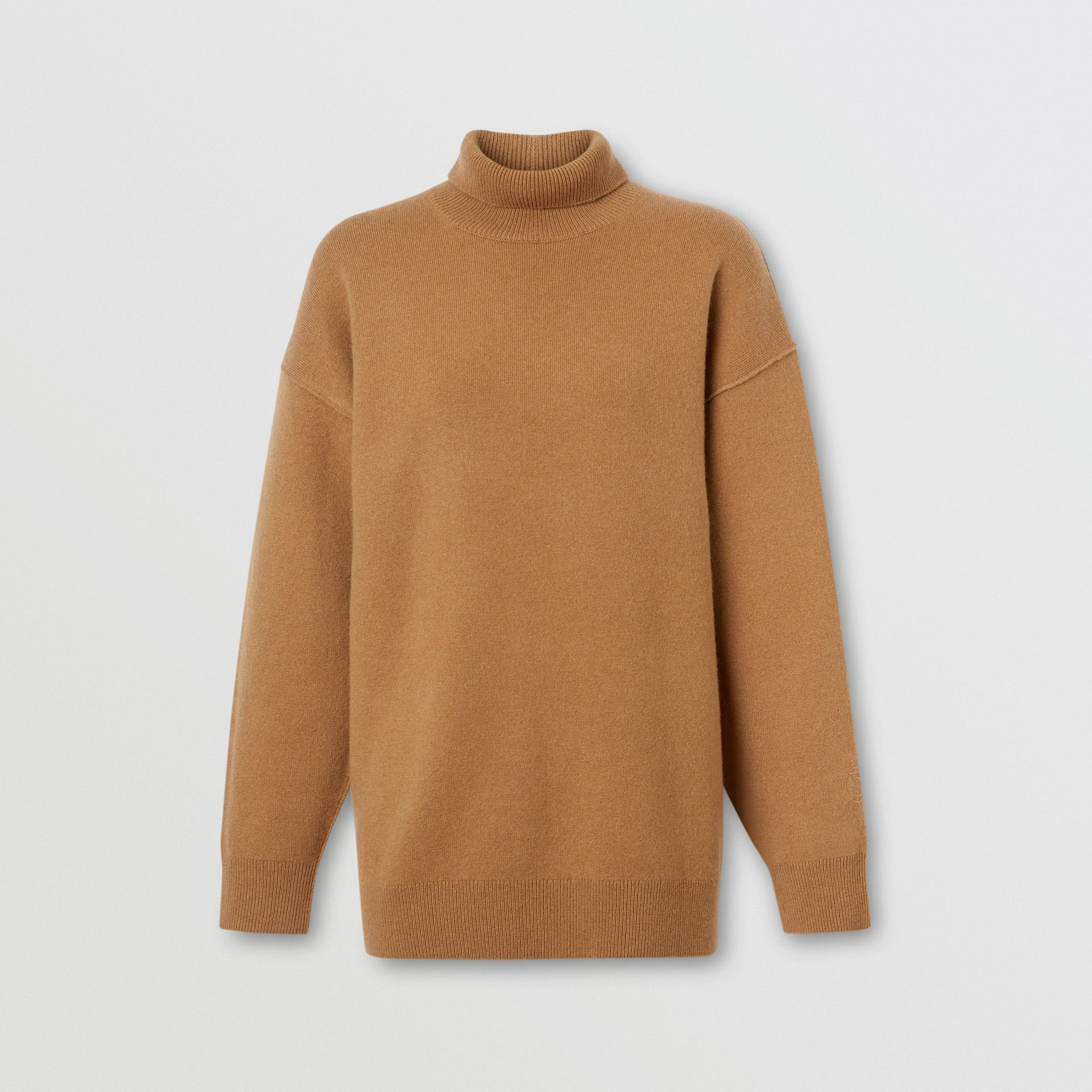 Monogram Motif Cashmere Blend Funnel Neck Sweater in Camel - Women | Burberry - gallery image 2