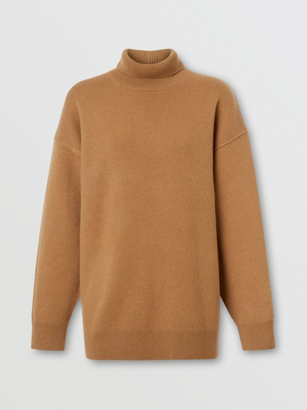 Monogram Motif Cashmere Blend Funnel Neck Sweater in Camel - Women | Burberry - cell image 2