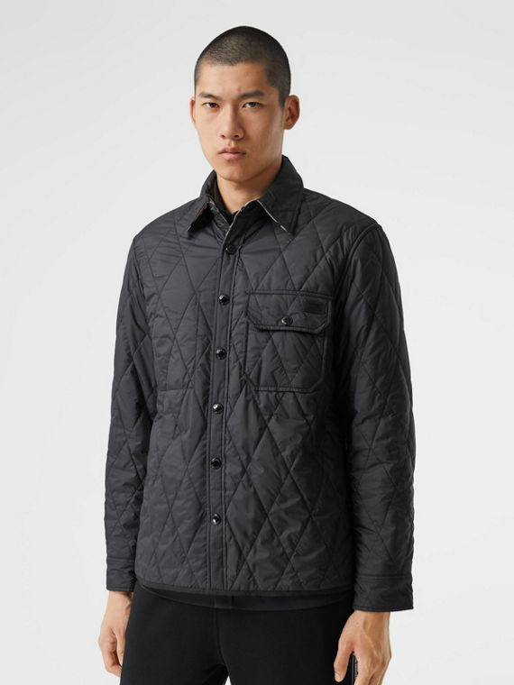 Wendbare Hemdjacke aus Baumwolle mit Vintage Check- und Steppmuster