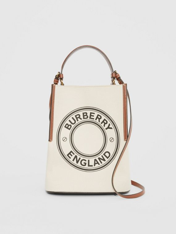 Small Logo Graphic Cotton Canvas Peggy Bucket Bag in Natural/tan