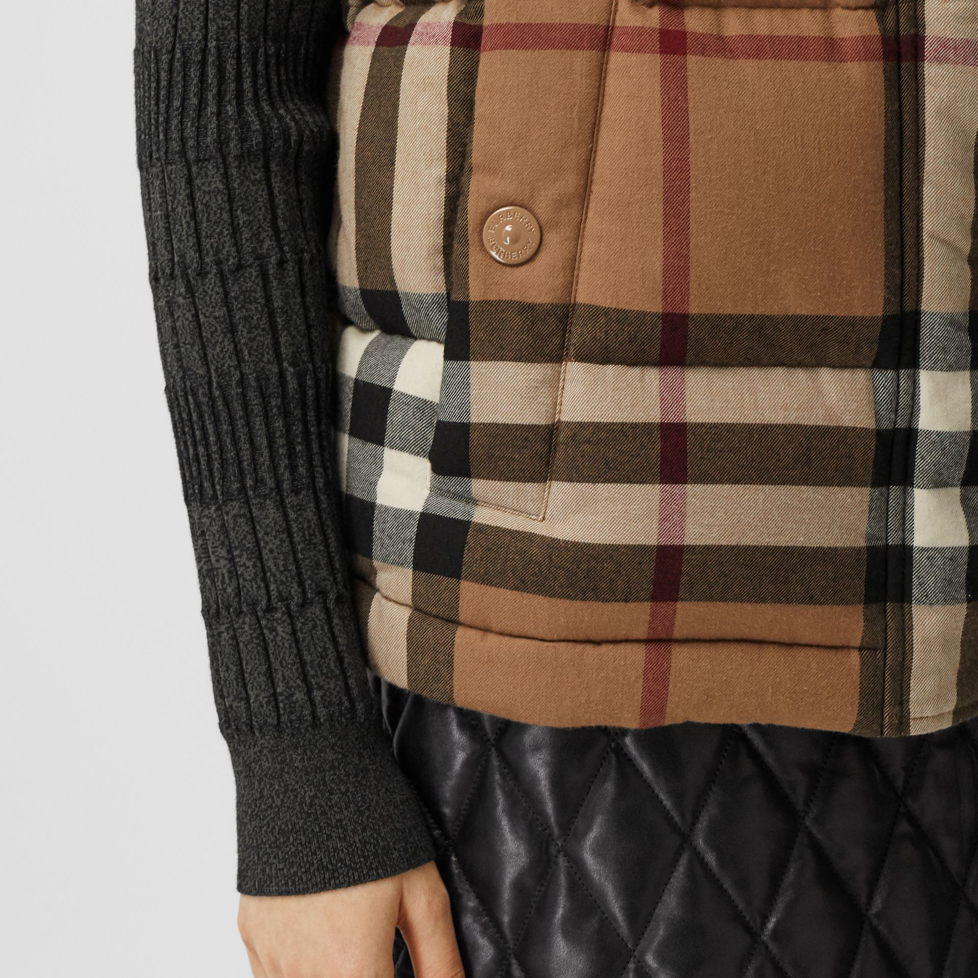 Check Cotton Flannel Puffer Gilet in Birch Brown - Women | Burberry - gallery image 4