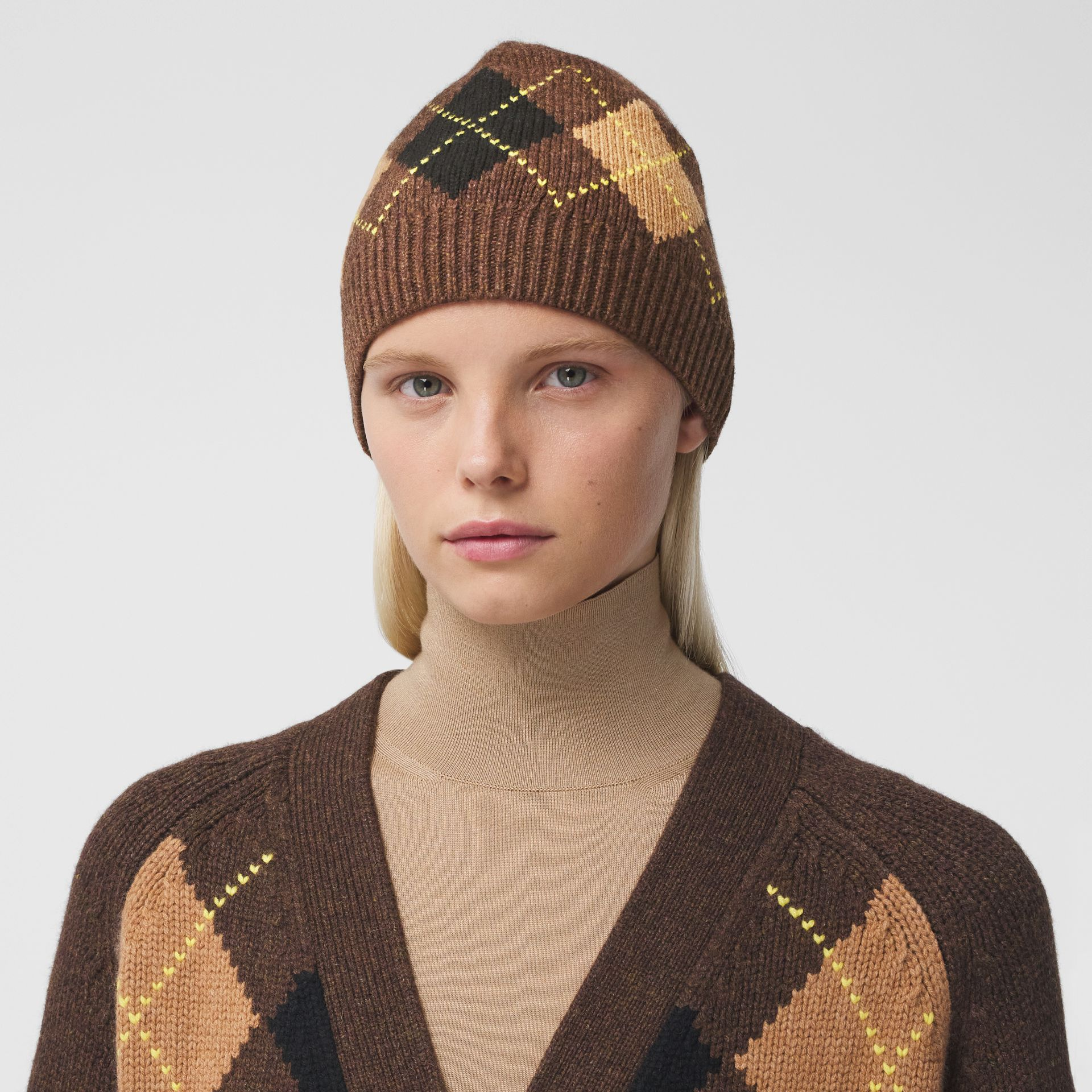 Argyle Intarsia Wool Cashmere Beanie in Brown | Burberry - gallery image 2