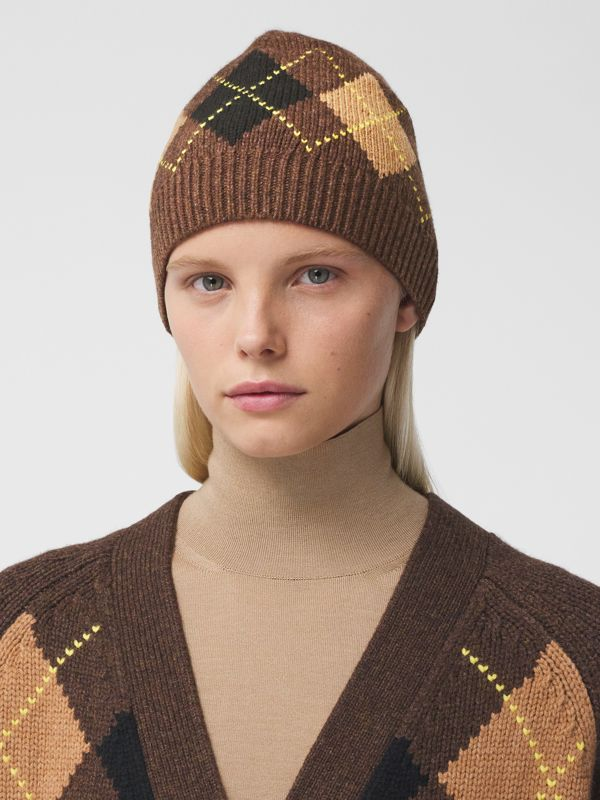 Argyle Intarsia Wool Cashmere Beanie in Brown | Burberry - cell image 2