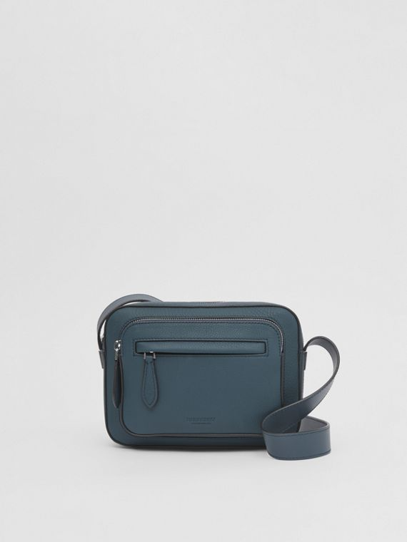 Grainy Leather Crossbody Bag in Ash Blue