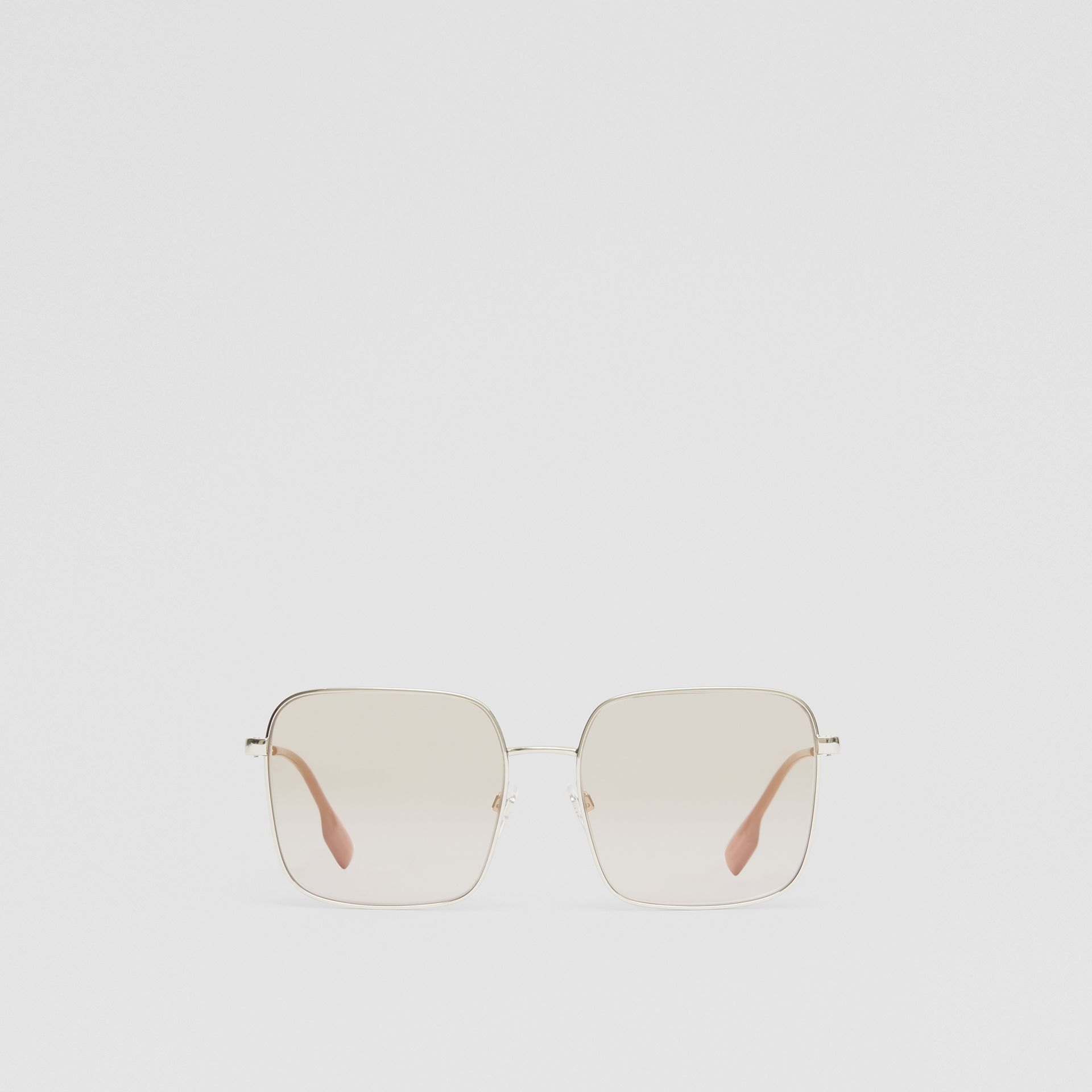 Oversized Square Frame Sunglasses in Nude Pink - Women | Burberry - gallery image 0