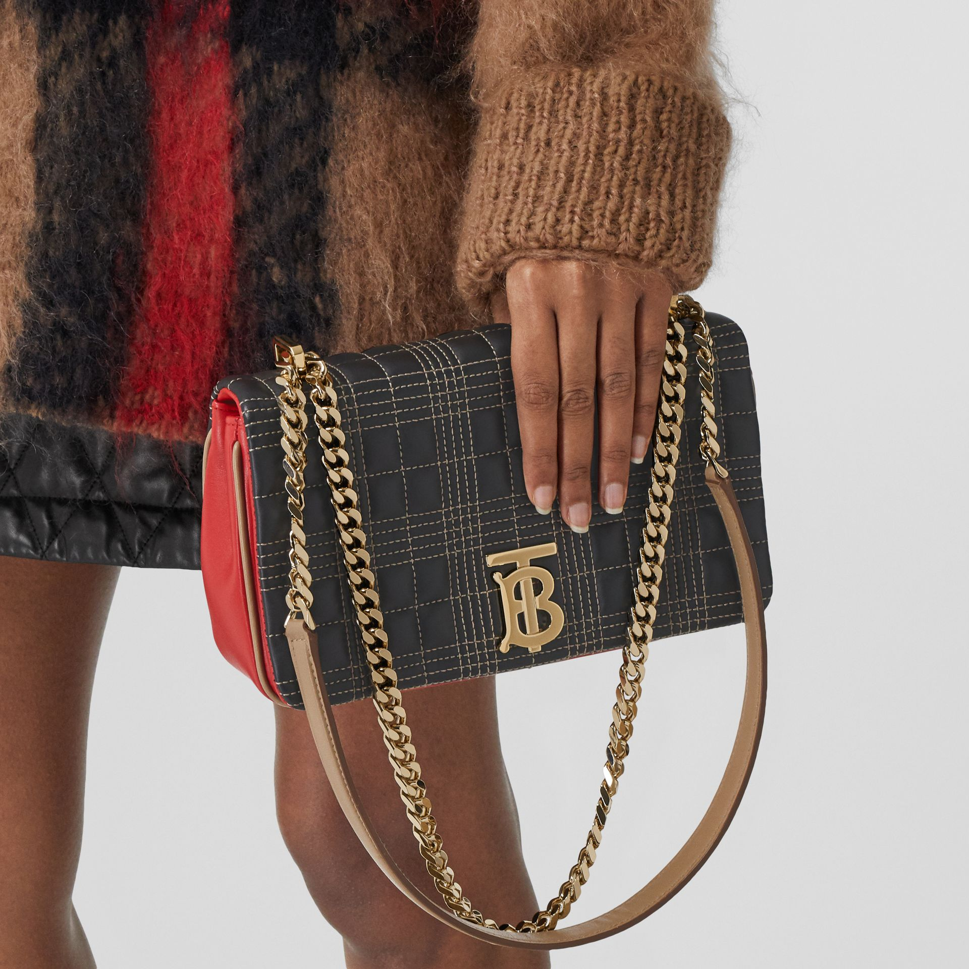 Small Quilted Tri-tone Lambskin Lola Bag in Black/bright Red - Women | Burberry - gallery image 8