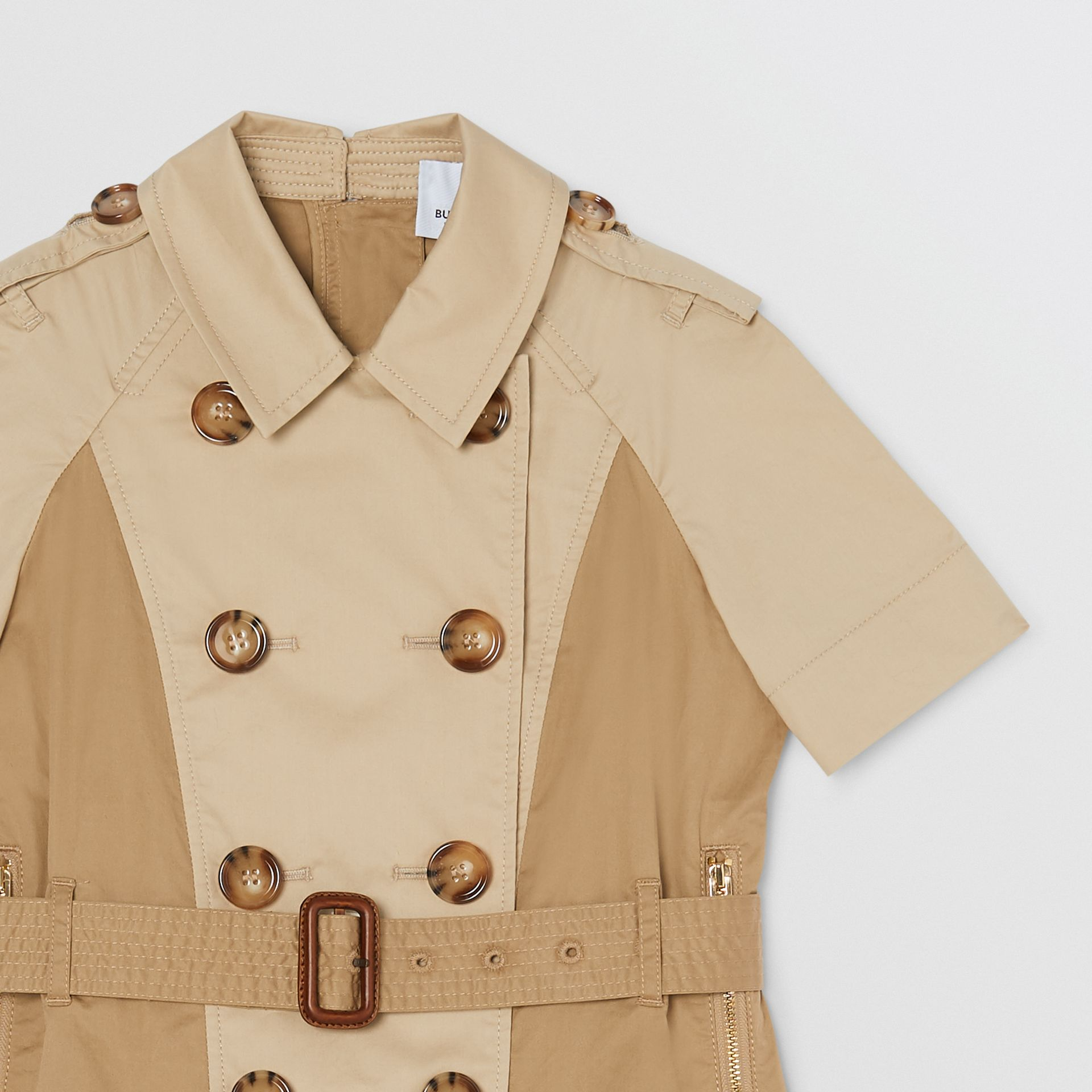 Two-tone Stretch Cotton Belted Trench Dress in Honey | Burberry United Kingdom - gallery image 3