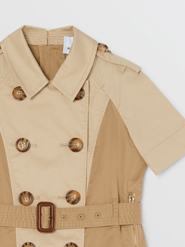 Two-tone Stretch Cotton Belted Trench Dress in Honey | Burberry United Kingdom - cell image 3
