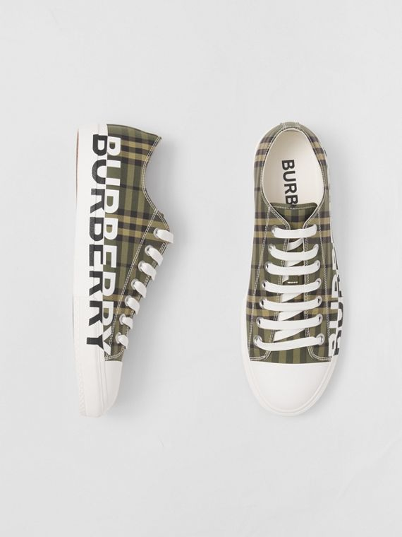 Logo Print Check Cotton Sneakers – Online Exclusive in Military Green