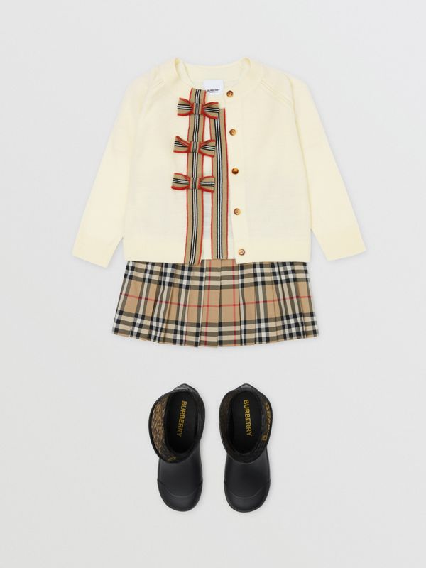 Icon Stripe Trim Merino Wool Two-piece Set in Ivory | Burberry United Kingdom - cell image 2
