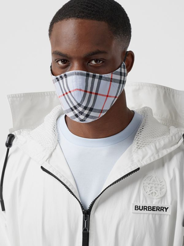 Vintage Check Cotton Face Mask in Pale Blue | Burberry - cell image 3