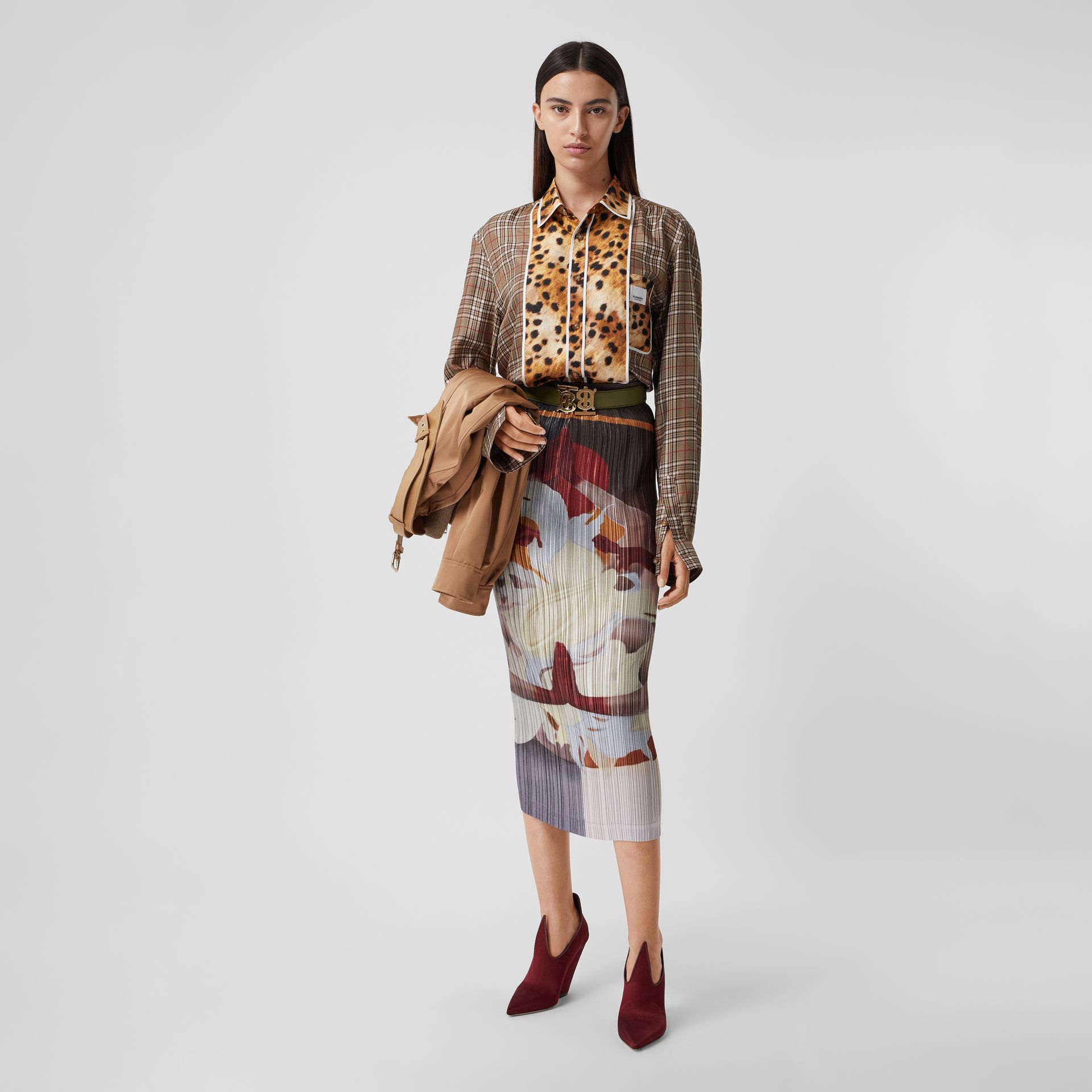 Meditation Print Satin Plissé Skirt in Multicolour - Women | Burberry - gallery image 0