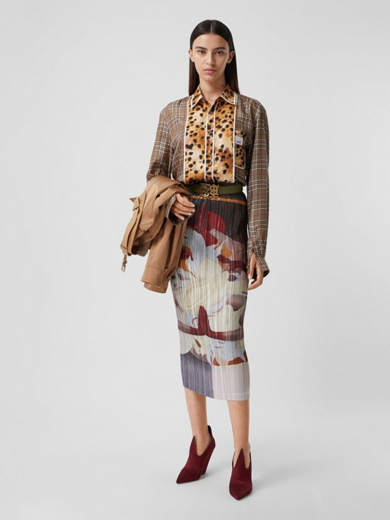 Meditation Print Satin Plissé Skirt in Multicolour