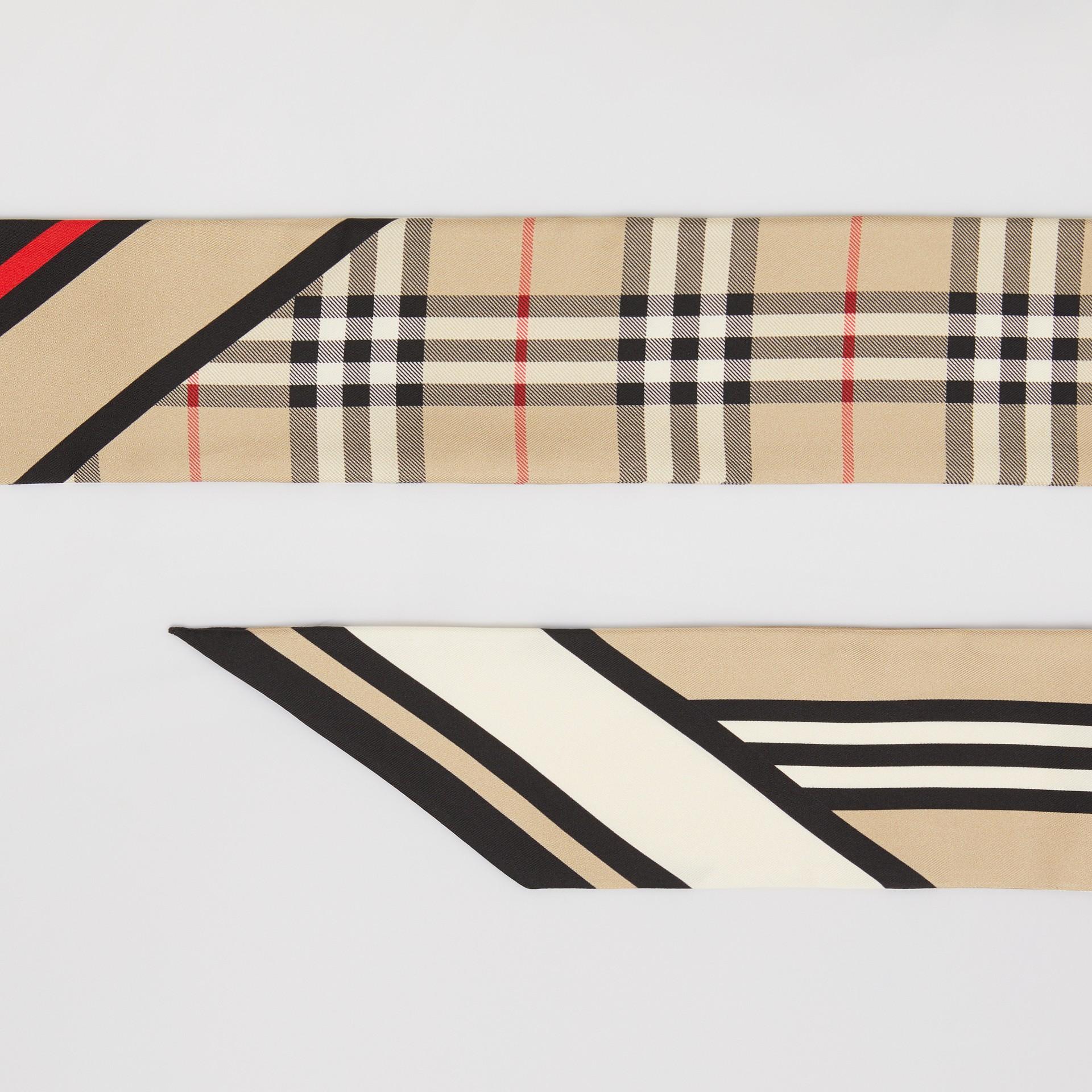 Schmaler Seidenschal mit Druckmotiven (Vintage-beige) | Burberry - Galerie-Bild 1