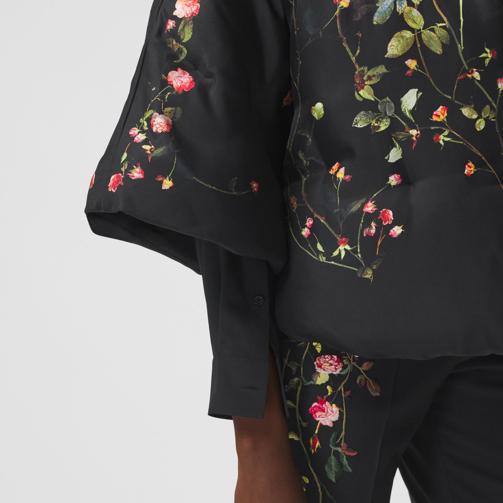 Rose Print Silk Cape in Black - Women | Burberry - gallery image 4