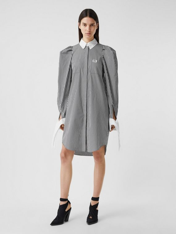 Logo Appliqué Striped Cotton Poplin Shirt Dress in Black