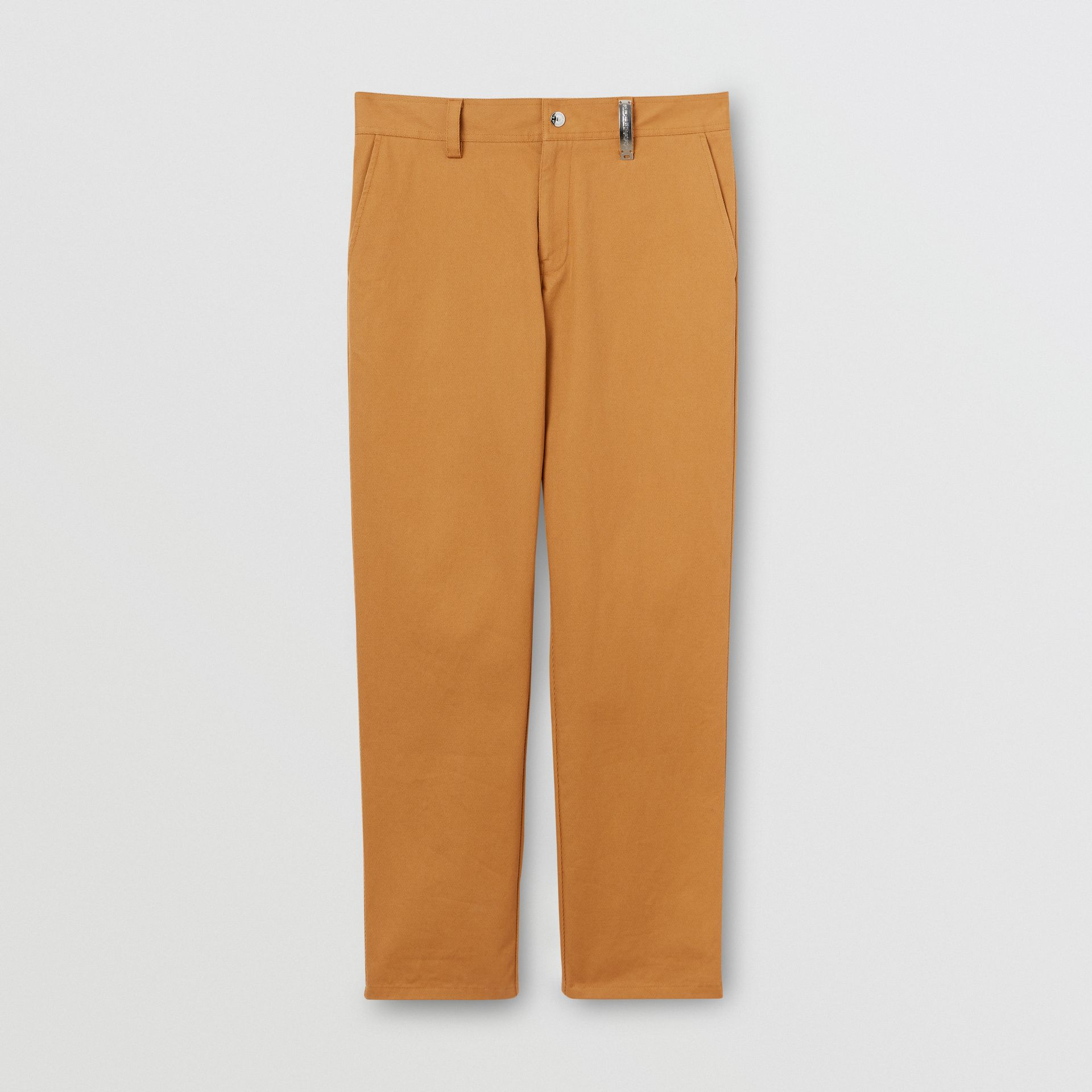 Straight Fit Logo Detail Cotton Chinos in Camel - Men | Burberry - gallery image 3