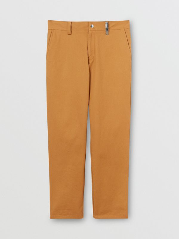 Straight Fit Logo Detail Cotton Chinos in Camel - Men | Burberry - cell image 3
